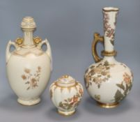 Two Royal worcester vases and a lidded pot