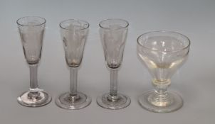 Three late 18th / early 19th century ale glasses and a rummer