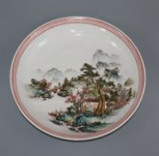A Chinese Republic period enamelled porcelain 'landscape' dish diameter 30.5cm