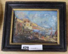 JGK oil on canvas, Italian coastal scene, initialled, 14 x 18cm.