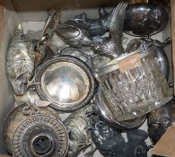 Assorted plated ware including models of birds
