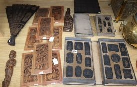 A collection of Chinese carvings and ink stones