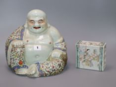 A Chinese famille rose figure of Budai and a Chinese pillow Budai 26cm