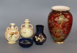 Two Royal Worcester blush ivory vases, a Carlton ware vase and two Moorcroft tallest 20cm