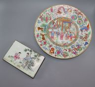A Chinese famille rose dish, Daoguang period and a Republic period box dish diameter 35cm