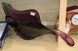 A large Murano three colour glass dish, one end ground off length 82cm
