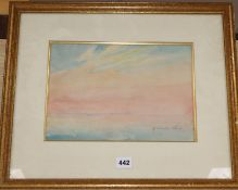 Nina Winder Reid S.M.A., watercolour, Sunset study, signed in pencil, 22 x 31cm