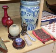 An Islamic cloisonne box, vase and other Asian wares