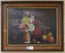 George Grosvenor Bullock (c.1826-1859) oil on canvas, Still life of flowers, fruit, nuts and a