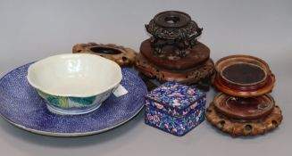 A quantity of Chinese hardwood stands, cloisonne box, etc.