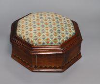 A Victorian walnut work box