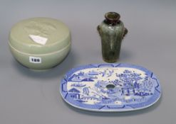 A Chinese celadon glazed lidded box and a vase bowl height 12cm