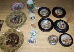 A group of Prattware plates, a mug and pot lids