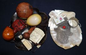 A Chinese cinnabar lacquer snuff bottle, a Japanese gilt decorated tortoiseshell dish and other
