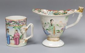 A Chinese famille ewer, Qianlong and a famille rose mug, Jiaqing height 11cm