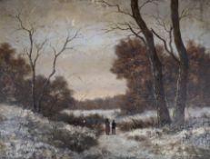 L. Flatleau, oil on wooden panel, Figures in a winter landscape, indistinctly signed, 16 x 21cm,