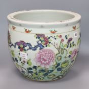 A late 19th century Chinese famille rose jardiniere height 31cm