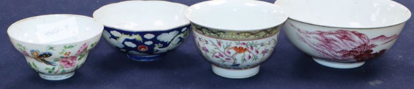 Four Chinese porcelain bowls largest diameter 17cm