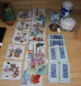 A quantity of Chinese porcelain tiles, a pot pourri, a brush pot, a flask etc.