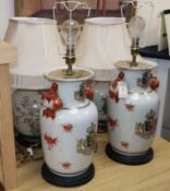 A Chinese 'armorial' vase lamp
