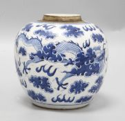 A Chinese blue and white jar, height 17cmSlight glazing faults all the way around the body of jar,