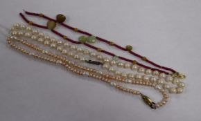 Three assorted modern necklaces including cultured pearl.