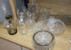 A quantity of assorted glassware tallest 34cm
