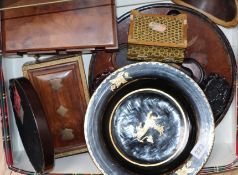 A group of lacquer and wood wares