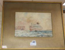 John Charles Alcott (Australian, 1888-1973), watercolour, 'T.S.Argyllshire' in dazzle paint, signed