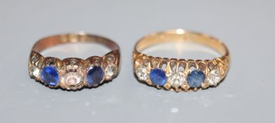 An early 20th century 18ct. gold sapphire and diamond five stone half hoop ring and a 9ct gold,