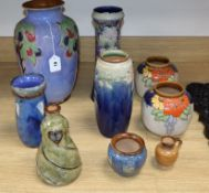 A group of Doulton Lambeth stoneware vases tallest 35cm (9)