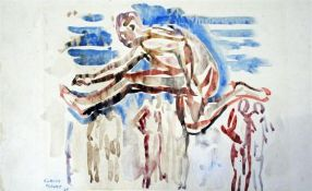 Claude Flight (1881-1955) unframed watercolour, Hurdle jumper, signed and dated '25, 24 x 41cm