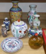 A Japanese dragon vase, famille verte, a large snuff bottle hand painted internally and mixed