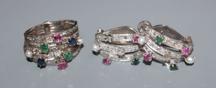 A 750 white metal, ruby, sapphire, emerald, cultured pearl and diamond set multi-shank dress ring