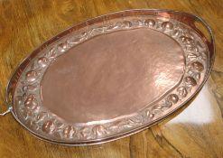 A Newlyn copper oval tray stamped 'Newlyn' W.54cm