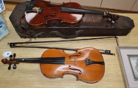 Two 20th century violins and two bows