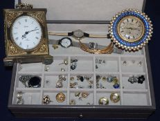 Two clocks and a group of assorted costume jewellery.