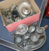 A quantity of mixed pewter, silver plate etc