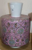 A large cylindrical pink ground vase, signed Eric Robin H.52cm.