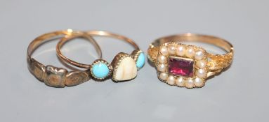 An early Victorian yellow metal, foil backed garnet? and split pearl ring and two other rings.