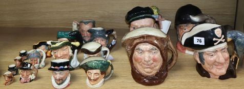 A group of eighteen Royal Doulton character jugs, four large, seven medium, three small and four