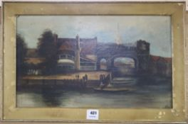 19th century English School, oil on board, Boathouse with cathedral beyond, 32 x 53cm