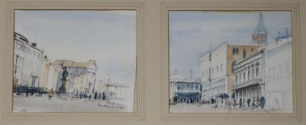 Patrick Hamilton (1923-2008) pair of watercolours, Views of Venice, signed, each 17 x 20cm