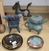 A group of mixed Oriental metalware