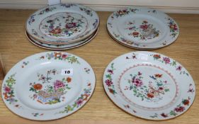 Six 18th century Chinese export famille rose plates and a Mason's dish largest diameter 23cm