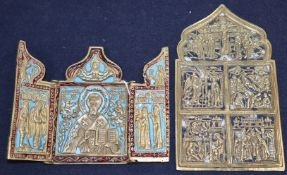 A 19th century Russian brass and enamel triptych icon and a similar arched icon (2)