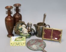 A pair of Oriental bronze vases and other metalware