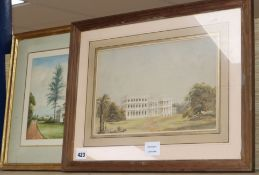 19th century English School, two watercolours, Studies of colonial houses, largest 23 x 32cm