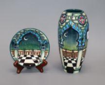 A Moorcroft 'Jumeirah' pattern vase and pin dish vase height 19cm