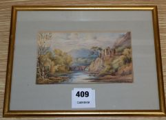 Attributed to Joseph Michael Candy, watercolour, Landscape with stone bridge, 10 x 17cm